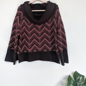 Hinge Seattle Cowl Neck Striped Sweater